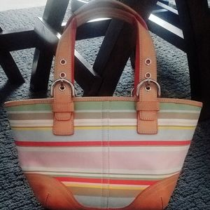 Coach Multi-color Stripe Handbag